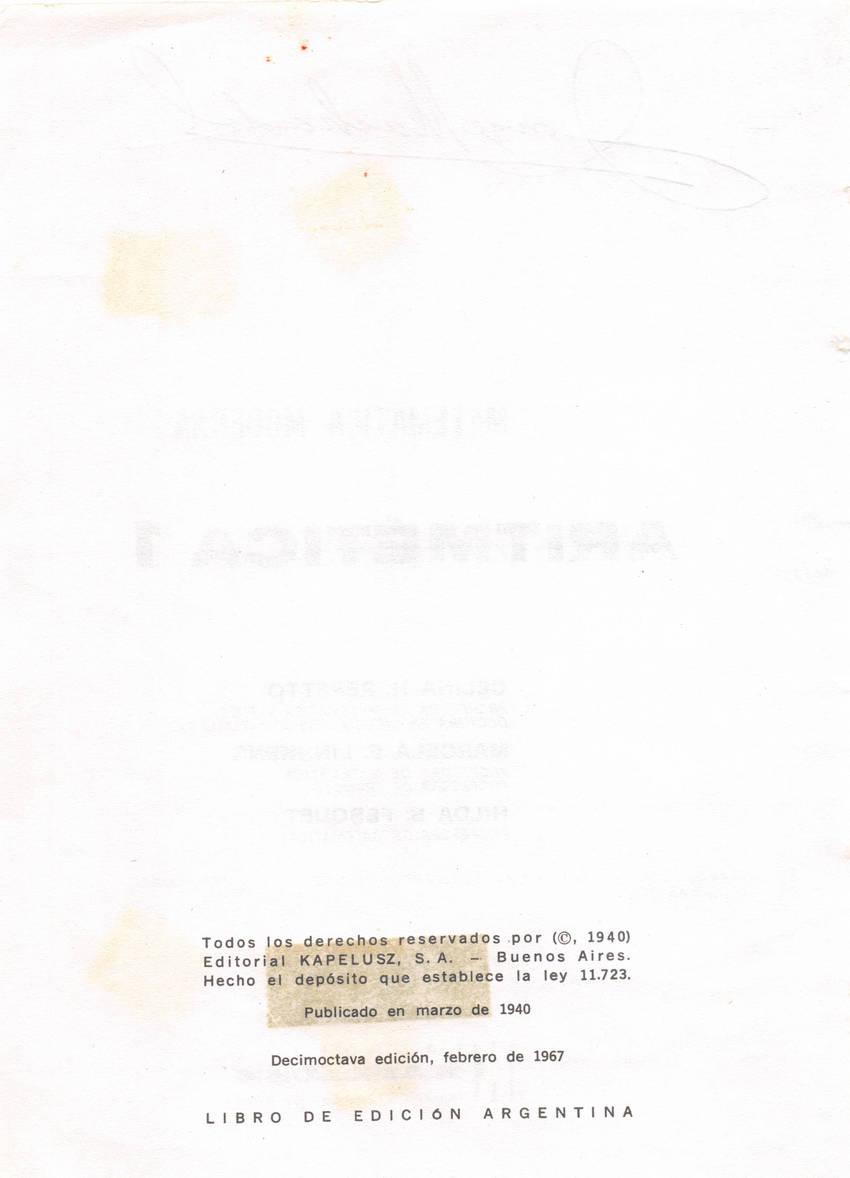 Aritmética de Repetto 1 - Información editorial