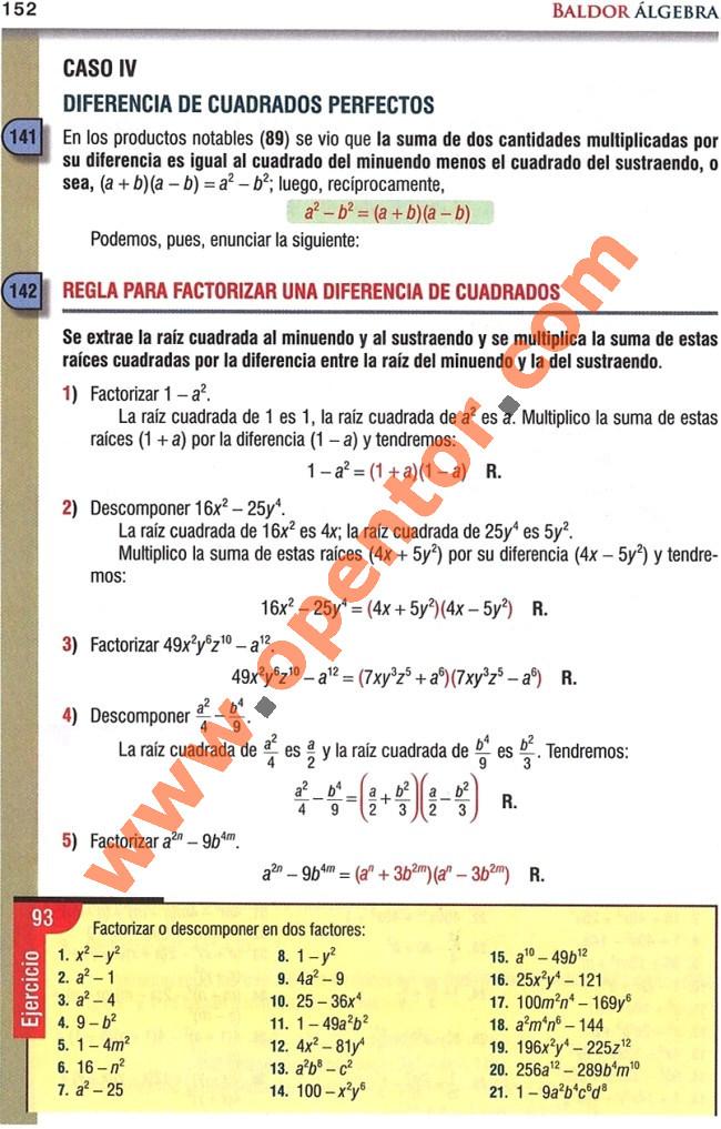 Álgebra Baldor, Caso IV: Diferencia de cuadrados perfectos - Opentor