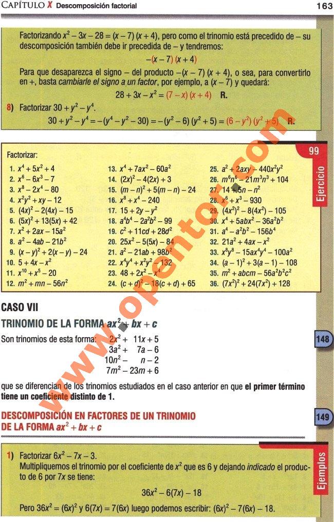 Álgebra Baldor, Caso VII: Trinomio de la forma ax2 + bx + c - Opentor
