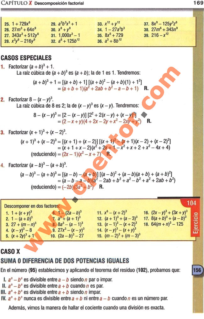 Casos de factorizacion algebra de baldor